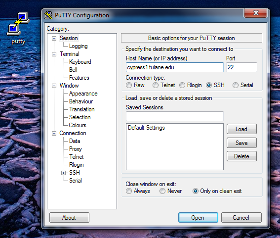 windows putty launch